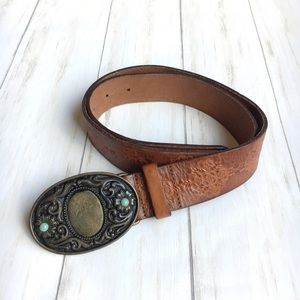 Accessories - Western Tooled Leather Belt Floral Beaded Buckle